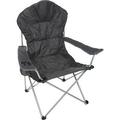 Halfords Comfort Folding Camping Outdoor Fishing Chair Padded Cup Holder Black