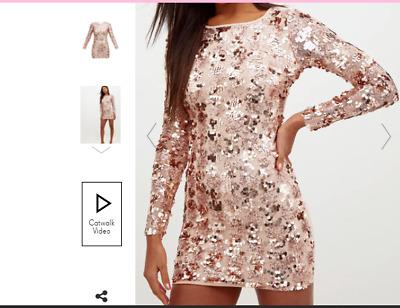 Prettylittlething Rose Gold Sequin Tie Back Dress Uk 10 Us 6 Eur 38 Wb78 Ebay
