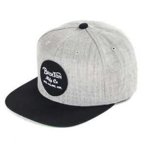 e340aa9e0 Details about Brixton Hats Wheeler Snapback Baseball Cap - Heather  Grey/Black
