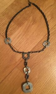 Grey-and-silver-metal-drop-necklace-16-inches