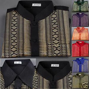 3995041d8 Image is loading Mens-Traditional-Thai-Silk-Shirt-Short-Sleeve-Mandarin-