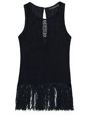 ZARA Collection black laser cut out silk feel tassle tassel fringe blouse size S
