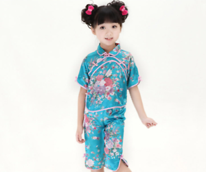 Chinese Japanese Blue Childrens Girls Floral Top /& Trousers Set Pyjamas cgps5