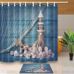 Image Is Loading Shells And Lighthouse Shower Curtain Bathroom Waterproof Fabric