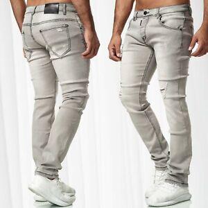 Herren-Jeans-Hose-Destroyed-Stretch-Denim-Slim-Used-Washed-Regular-Waist-Casual