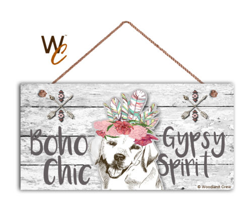 Boho Chic Gypsy Spirit Labrador Retriever Sign Light Style 5x10 Wood Dog Sign
