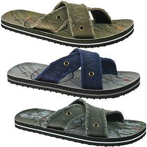 uomo Dunlop tessuto infradito sandali misura UK 6 12 Khaki Blu Navy o grigio