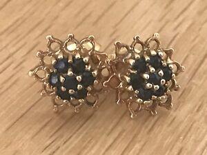 Beautiful Vintage 9ct Gold & Sapphire Pierced Star Shaped Earrings & display Box