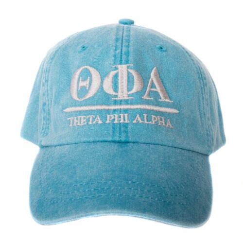Bright Blue Baseball Hat with Gray Thread Theta Phi Alpha B