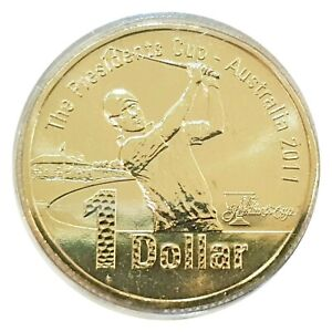 Australia-2011-The-Presidents-Cup-Golf-1-Dollar-UNC-Coin-in-Capsule-Carded-RAM