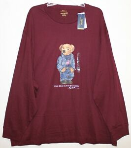 Polo-Ralph-Lauren-Big-Tall-Mens-3XB-Burgundy-Blue-Jean-Bear-L-S-T-Shirt-NWT-3XB
