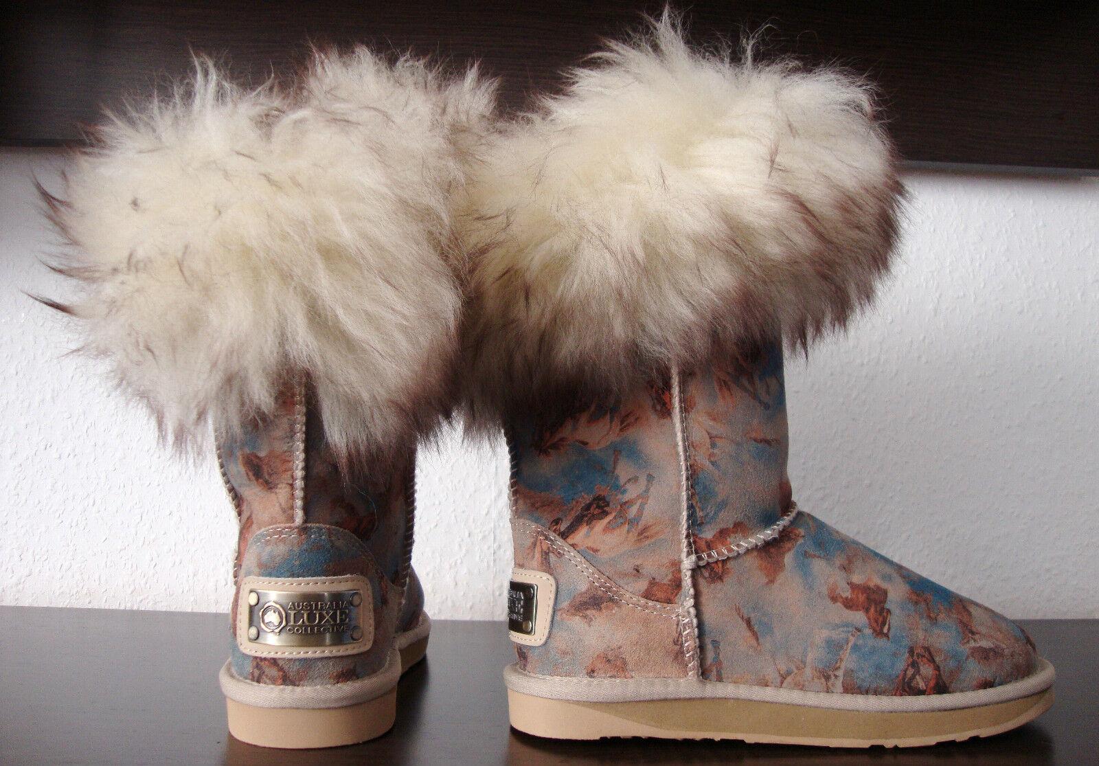 AUSTRALIA LUXE FOXY SHORT Stiefel Pelz Damen Stiefel Leder Schuhe Gr.37 NEU