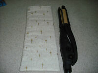 Flat Iron / Curling Iron Fabric Case/ Cover - Gold Shining Stars On Ivory