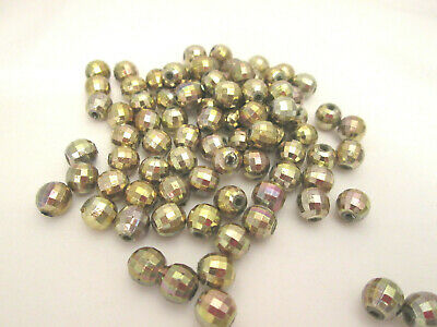 round globe vial 5 Glass Ball Charms sparkly CLEAR CRYSTALS gold bail chs3666