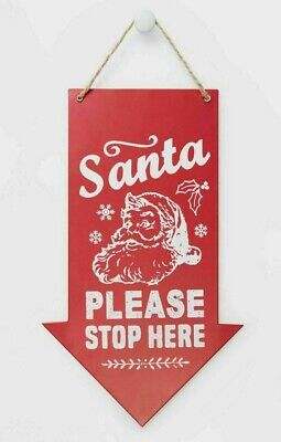 """NEW Red /""""Santa Stop Here/"""" Metal Novelty Rustic Sign CHRISTMAS ARROW Holiday"""