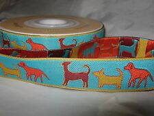 1m Imported Designer Woven Ribbon - 22mm Sue Spargo Dogs Ribbon