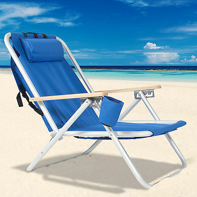 Backpack Beach Chair Folding Portable Chair Solid Construction Camping New -Blue