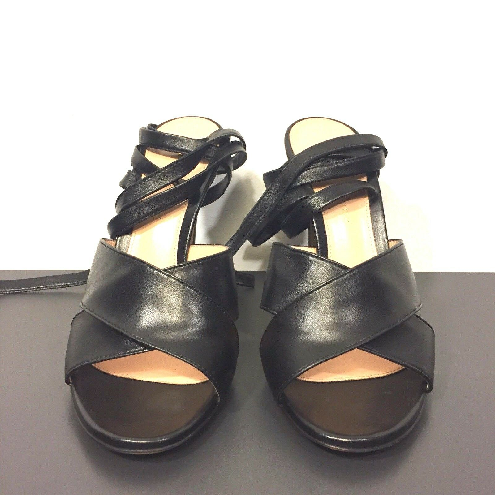 GIANVITO ROSSI Leather Ankle Lace Up Strap Strap Strap Open Toe Sandals nero 37 (MSRP  795) 606d60
