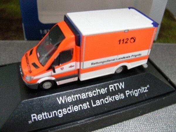 1/87 Rietze MB Sprinter WAS RTW Rettungsdienst Landkreis Prignitz 72007