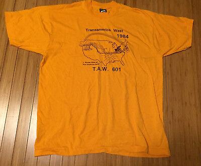 Vintage 24.4ms Transamerica Westen 1984 Bike T-shirt Einzel Stich Fahrrad