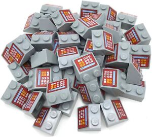 Lego-50-New-Light-Bluish-Gray-Slope-45-2-x-2-with-Red-Cash-Register-15-Pattern