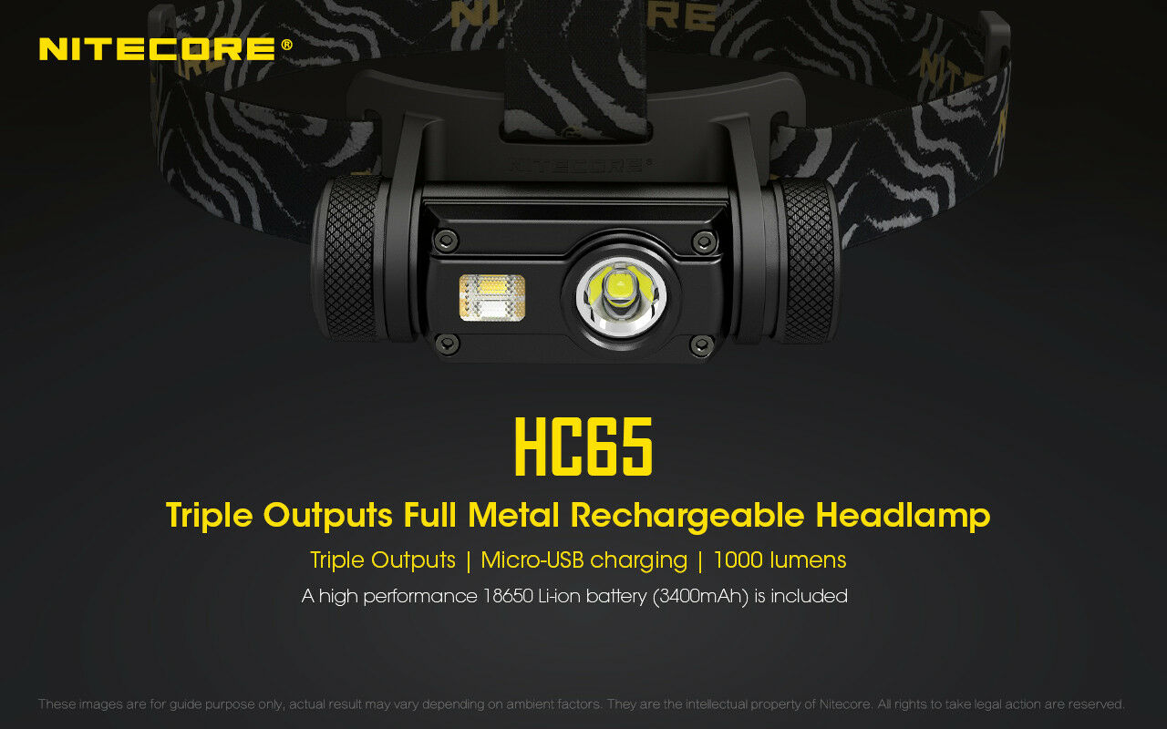 NITECORE  HC65 1000 Lumen White Red High CRI Output LED Rechargeable Headlamp  fast shipping to you
