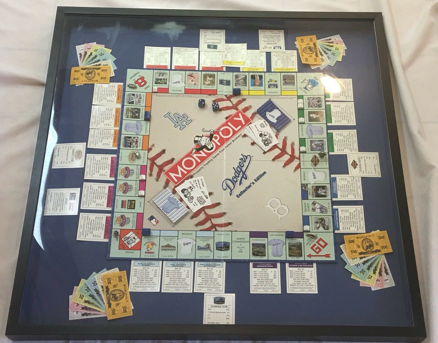 Monopoly Dodgers Collectors Edition 2000 Hasbro Parker Brojohers Framed