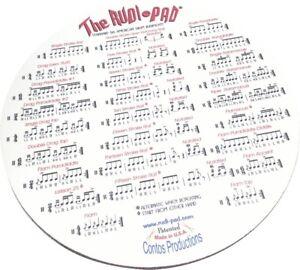 """Pratique Rudi-pad (r) Drum Practice Pad With Standard 26 American Drum Rudiments 9"""" Quiet Non Repassant"""