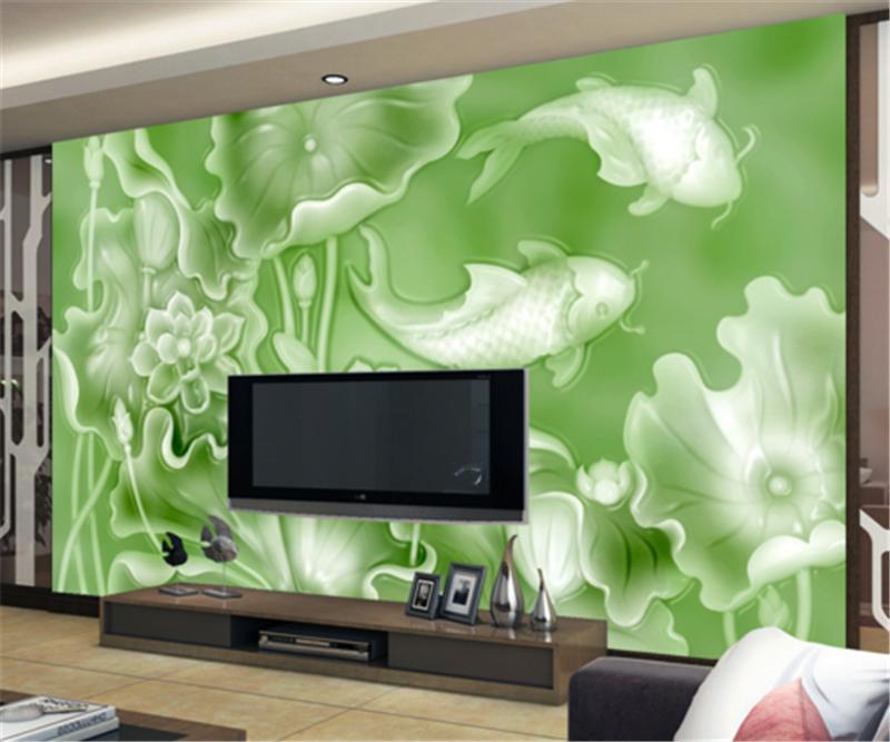 3D Lotus Leaf Carp 93 Wallpaper Mural Paper Wall Print Wallpaper Murals UK Carly
