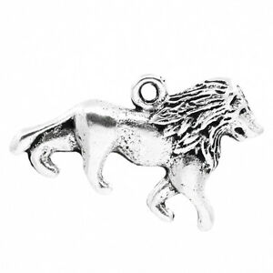 60PCs-Charm-Pendants-lion-Animal-Silver-Tone-26mmx17mm-1-034-x5-8-034