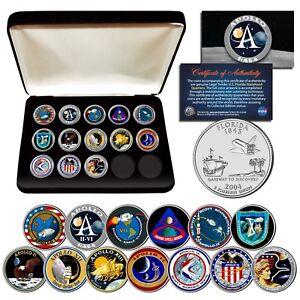 APOLLO-SPACE-MISSIONS-Flordia-Quarters-13-Coin-Complete-Set-NASA-PROGRAM-w-BOX