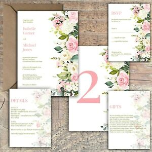 Personalised-Luxury-Rustic-Wedding-Invitations-IVORY-amp-PINK-BLUSH-ROSE-PK-10