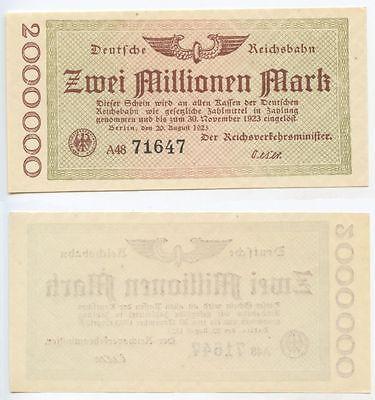 Zuversichtlich Gb565 - Deutsche Reichsbahn 2 Millionen Mark 1923 Berlin Top Notgeldschein