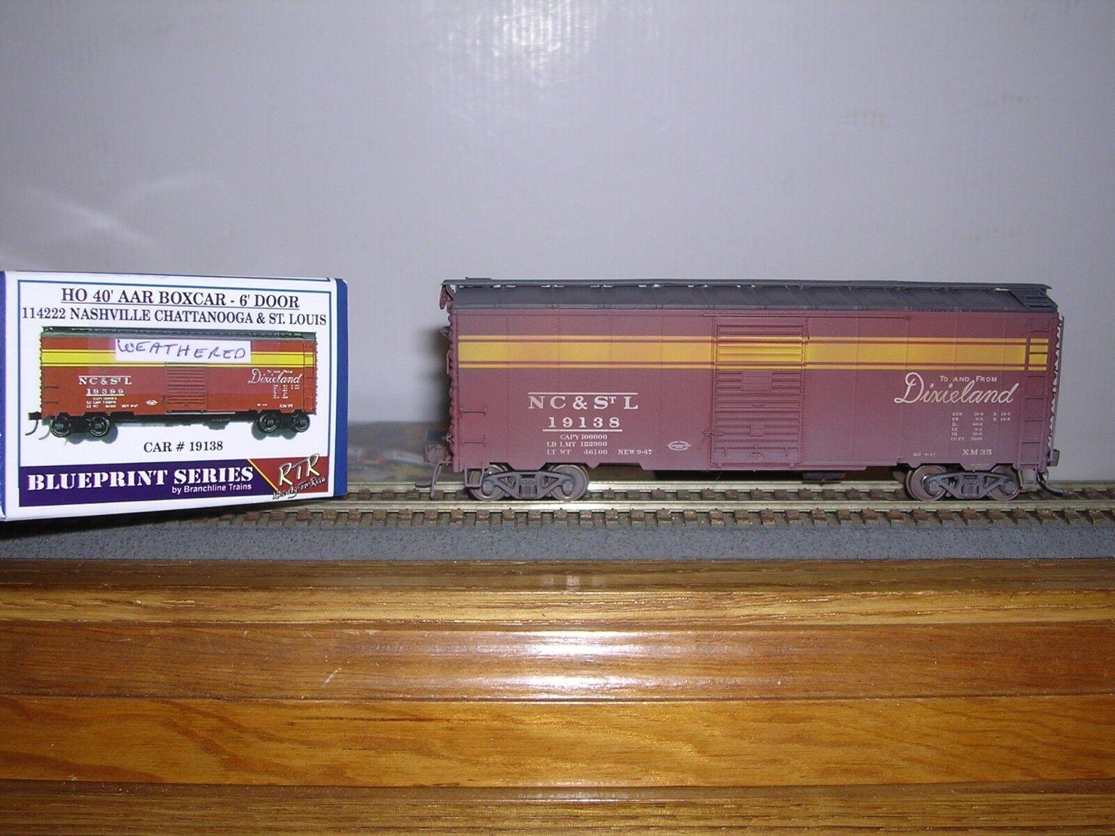 BRANCHLINE N.C.& St.Louis 40' AAR Box Car Weathered H.O. 1 87