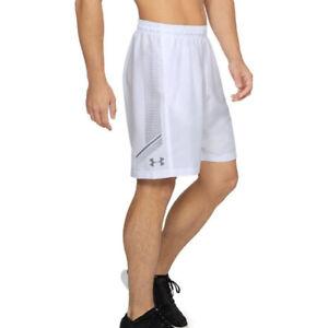 Under Armour UA Homme HeatGear Graphique Blanc Tissé Hommes Sport Gym Shorts L