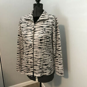 Clearance Sale Misook Animal Print Zip Front Shimmer Paillettes Jacket S Ebay
