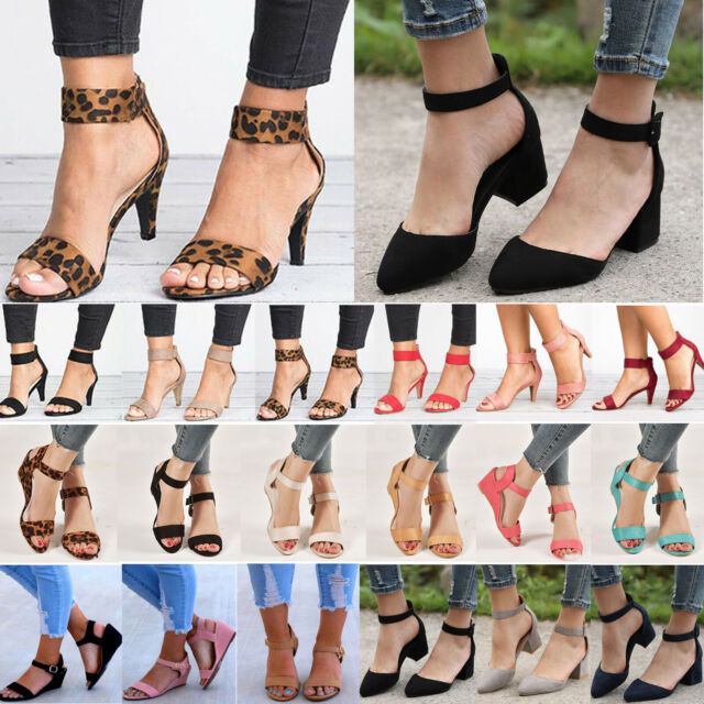 Women Dance Shoe Ankle Strap Flat Casual Sandals Chunky Low/Mid Heel Shoes Size
