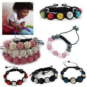 Kids-Shamballa-Bracelet-Crystal-Disco-Ball-Beads-Adjustable-Wrist-Band-Children