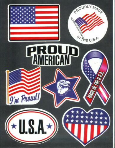 Lot of 8 USA United States Of America Flag Patriotic Stickers Pride Military #1