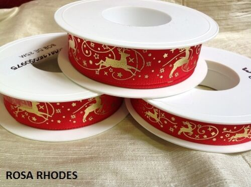 Por cable borde-Festive Reno Rojo Y Oro Cinta
