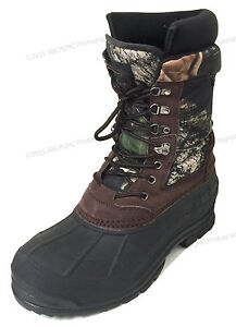"""Mens Winter Snow Boots Camouflage 10"""" Leather Waterproof Insulated Hunting Shoes"""