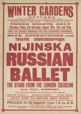 England Vintage Ballet Poster Nijinska Russian Ballet Winter Gardens 1925