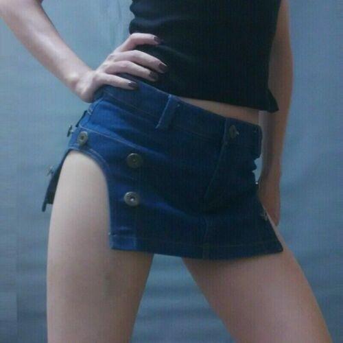 Jean Femmes Mini Micro Jupe Moulante Taille Basse Détachable Court Club de Danse