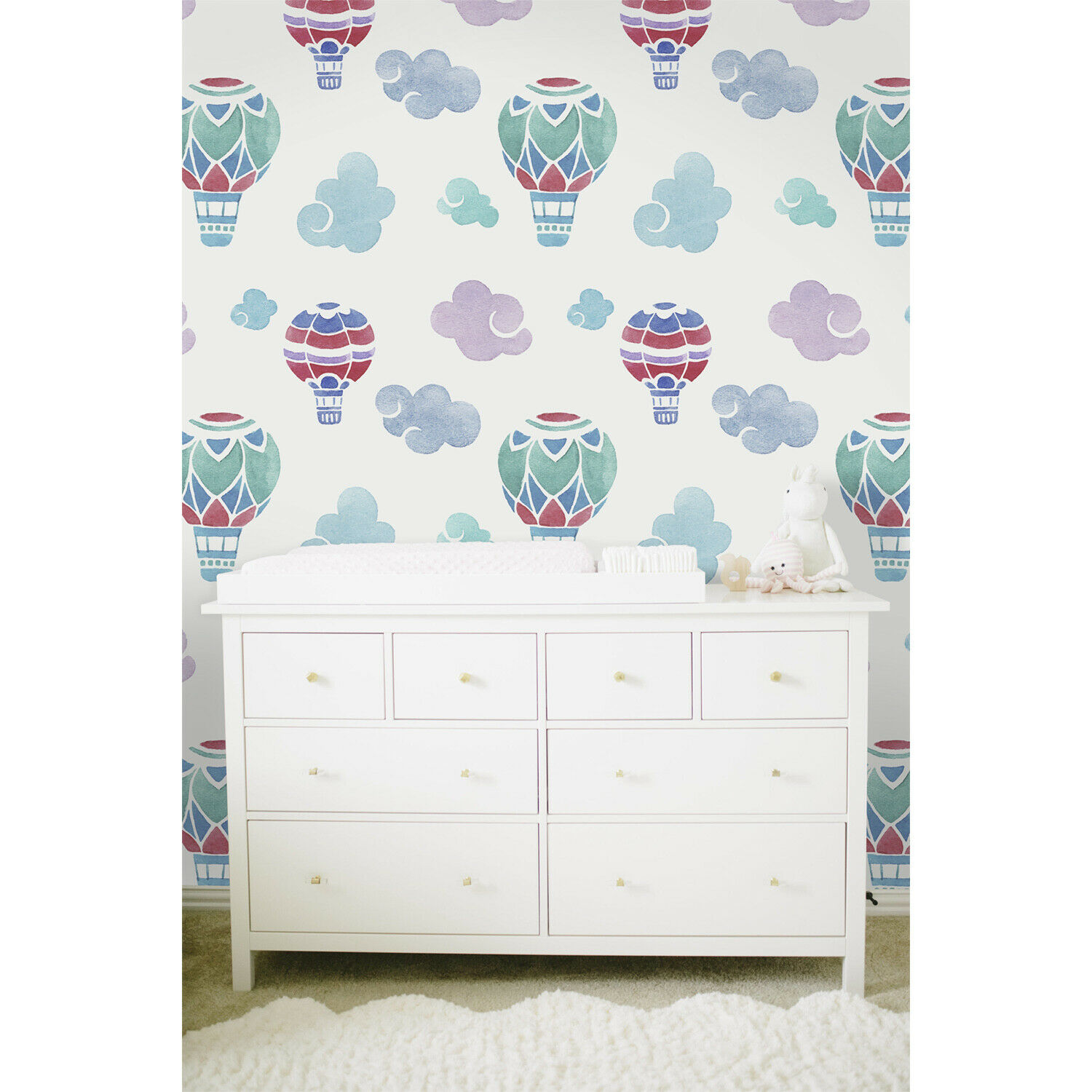 Non-Woven wallpaper Balloons WaterFarbe Pale Kids Nursery Baby Clouds Pastel
