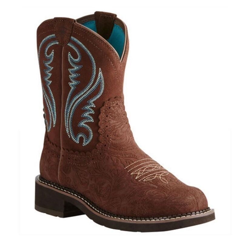 Ariat® Ladies Fatbaby Heritage Tooled Brown & Turquoise Boot 10020062