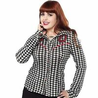 Sourpuss Dolly Horseshoe Pinup Punk Rockabilly Blk/Red Shirt Button Down S-3Xl