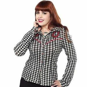 d93d2563db4 Image is loading Sourpuss-Dolly-Horseshoe-Pinup-Punk-Rockabilly-Blk-Red-