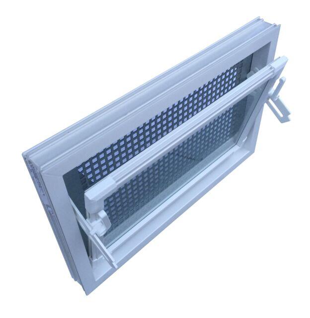 ACO 100x80 Nebenraumfenster Einfachglas Schutzgitter Kellerfenster Fenster weiß