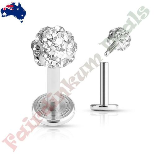 Clear Ferido Crystal Top 316L Surgical Steal Internal Thread Labret Monroe