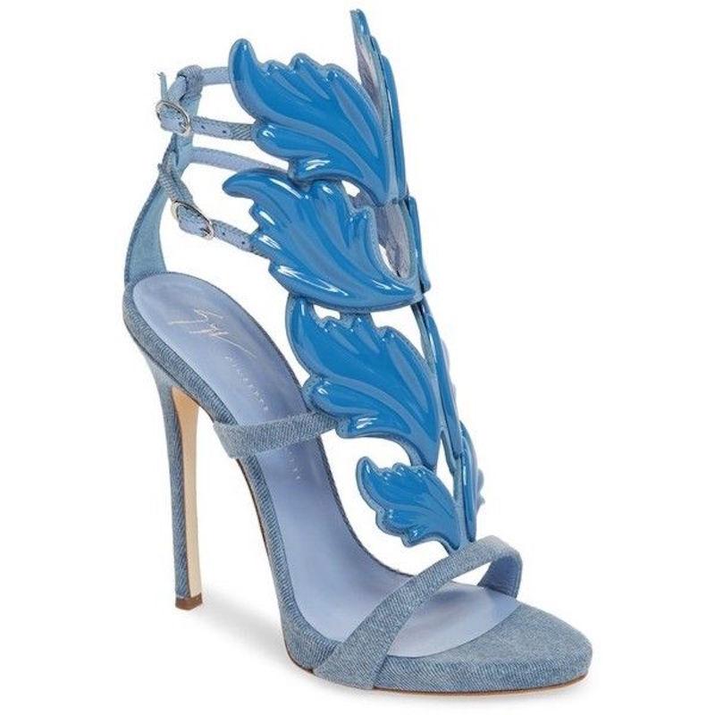 NB Giuseppe Zanotti Cruel Summer 110 Blau Blau Blau Denim Wing Strap Sandale Heel Pump 37.5 3cb8c3